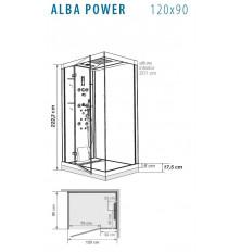 CABINA DUCHA ALBA POWER HIDROMASAJE 120X90