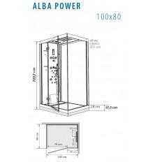 CABINA DUCHA ALBA POWER HIDROMASAJE 100X80