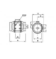 Ventilador centrífugo conducto TD-350/125