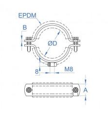 Abrazadera Isofónica M8 - 75 mm.