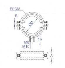 Abrazadera Isofónica M8+M10 - 200 mm.