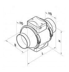 Ventilador Centrífugo Conducto TT 150 - Cotas