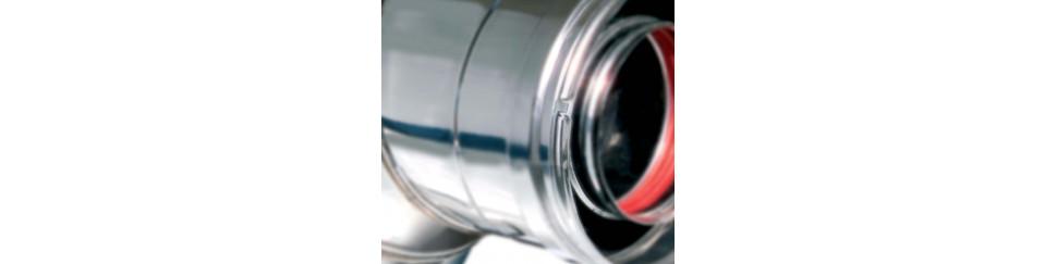 Chimenea modular concéntrica en acero inoxidable para calderas a gas